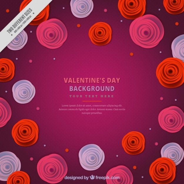 Purple background with round flowers for\ valentine\'s day