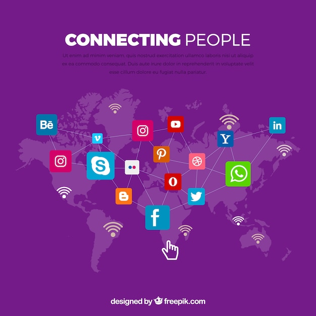 Purple background with world map and icons of social networks vector purple background with world map and icons of social networks free vector gumiabroncs Image collections