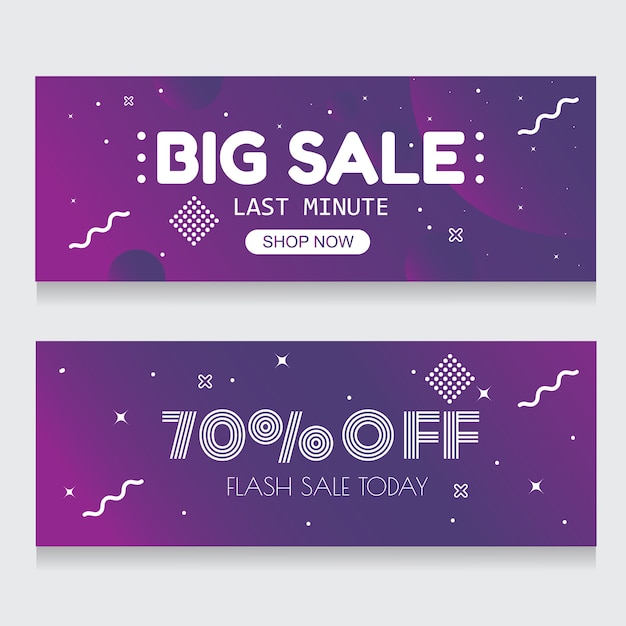 Purple banner background abstract flash sale 70 % off Premium Vector