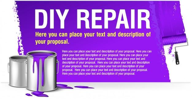 Фиолетовый баннер для рекламы сделай сам ремонт с краской банка. Premium векторы