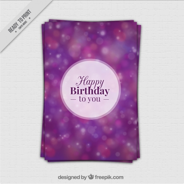 Purple birthday card with bokeh effect