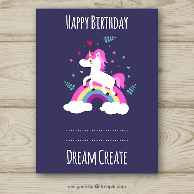 Purple Birthday Card With Unicorn Vector Free Download