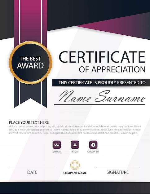 purple certificate template - purple black elegance horizontal certificate with vector