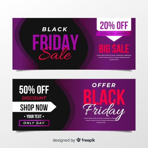 Purple black friday banners in flat design Free Vector