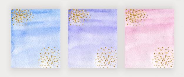 골드 반짝이 텍스처, 색종이와 퍼플, 블루와 핑크 수채화 커버 디자인 프리미엄 벡터