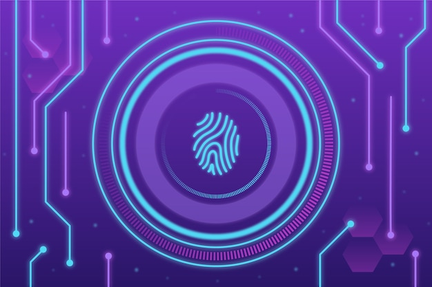 Purple and blue neon fingerprint background Premium Vector