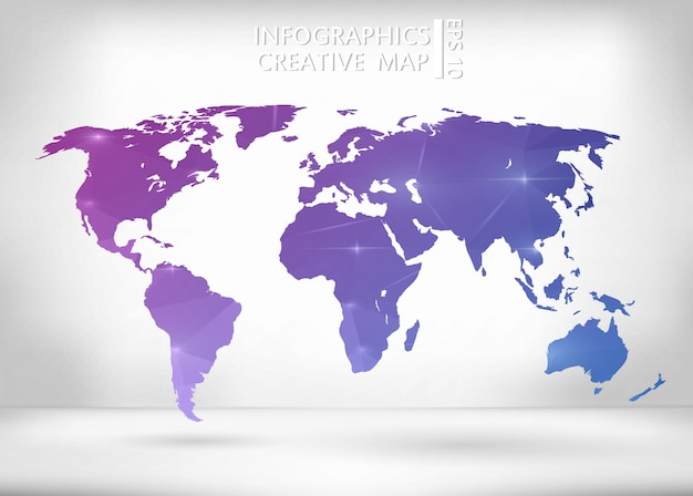 Purple and blue world map Premium Vector
