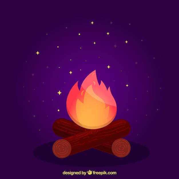 Purple bonfire background Free Vector