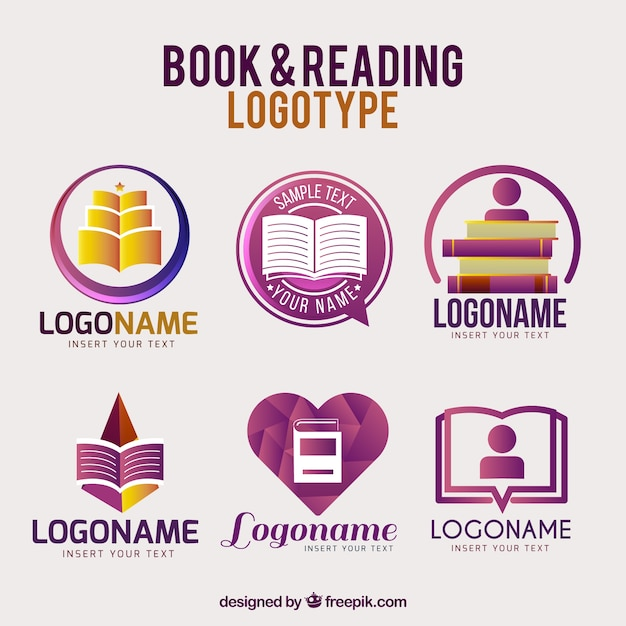 Purple book logos with different designs Premium Vector