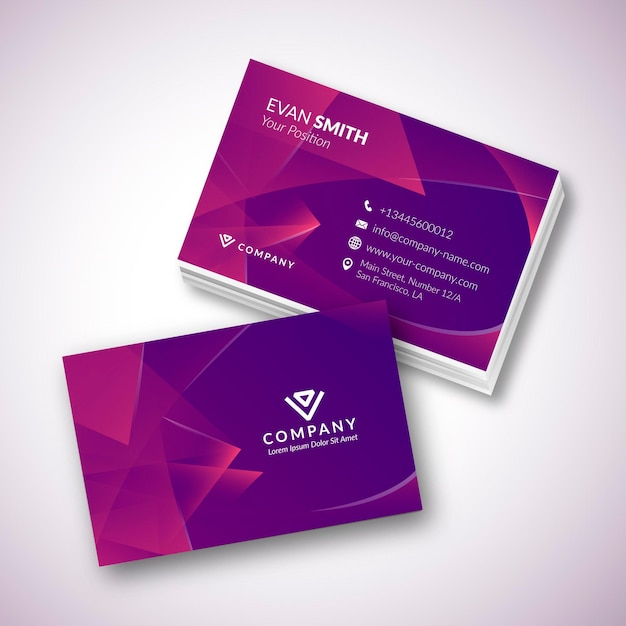 Purple business card template Free Vector