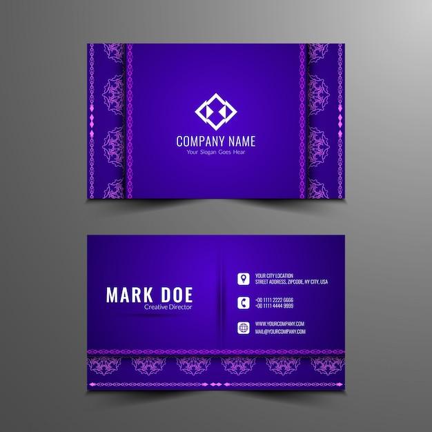 Purple business card with small mandalas