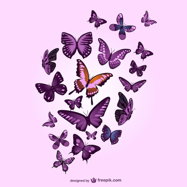 Purple butterflies and pink background Vector | Free Download