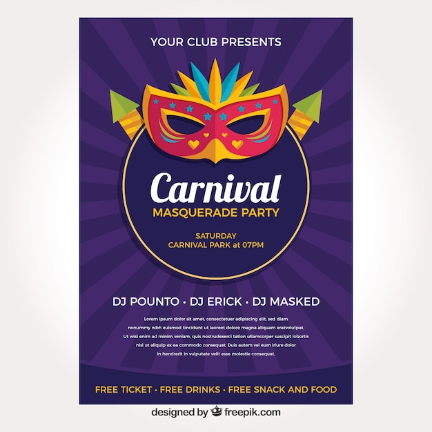 purple carnival flyer template vector free download