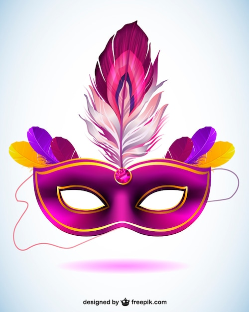 Purple carnival mask with a feather Free Vector