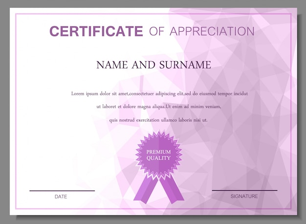 Purple certificate of appreciation design vector free download purple certificate of appreciation design free vector yelopaper Image collections