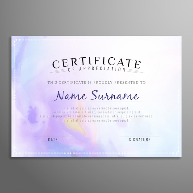 purple certificate of appreciation template free vector