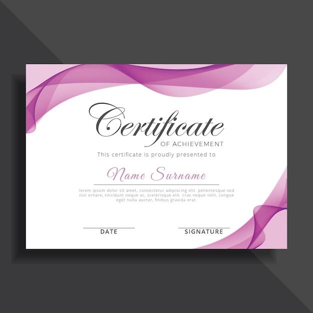 purple certificate template design premium vector
