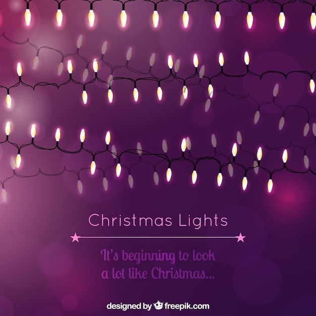 purple christmas lights background free vector