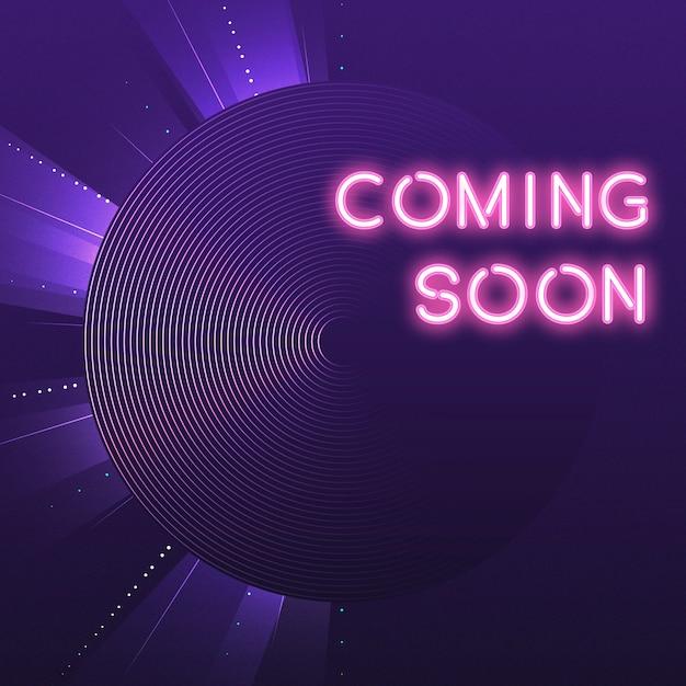 Purple coming soon neon icon vector Free Vector