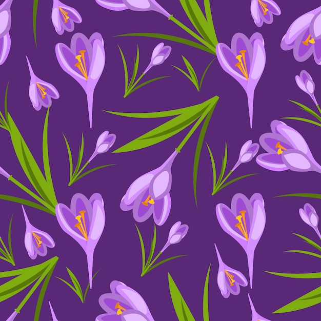 Purple crocuses in the snow vector pattern Premium Vector