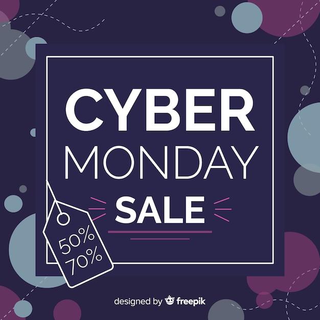 Purple cyber monday sale banner Free Vector