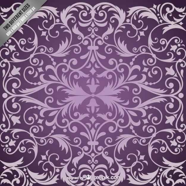 Purple damask pattern background Free Vector