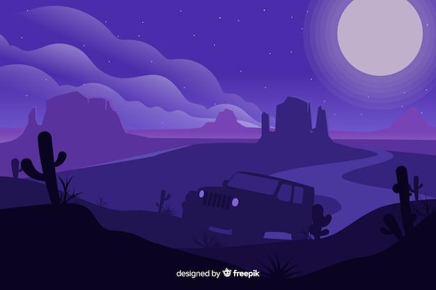 Фиолетовый пустынный пейзаж с автомобилем Бесплатные векторы