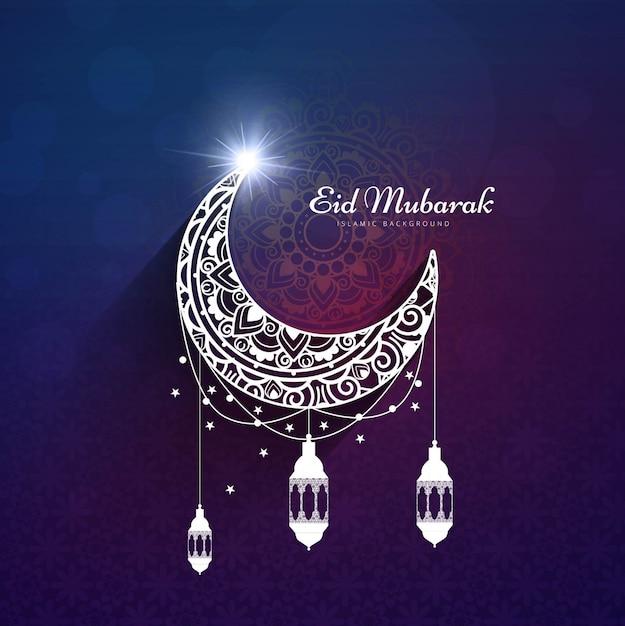 purple design for eid mubarak vector