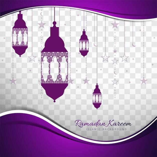 Purple design with lanterns for ramadan kareem Free Vector