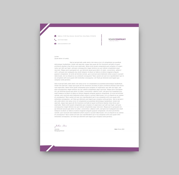 Elegant Professional Corporate Letterhead Template 000890: Purple Details Letterhead Template Vector