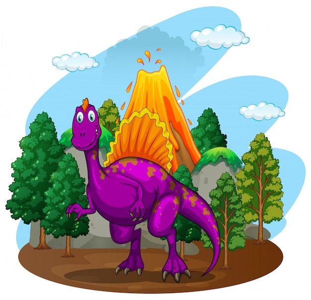 Purple dinosaur with volcano behind Free Vector