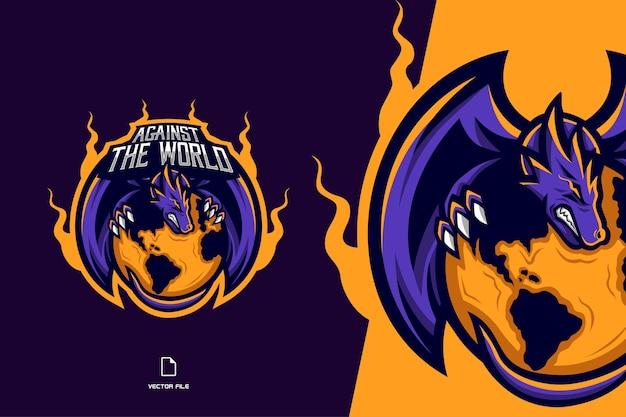 スポーツとeスポーツのチームイラストの紫ドラゴンマスコットロゴゲーム Premiumベクター