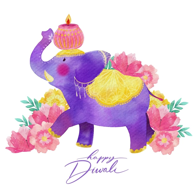 Purple elephant watercolor design diwali Free Vector