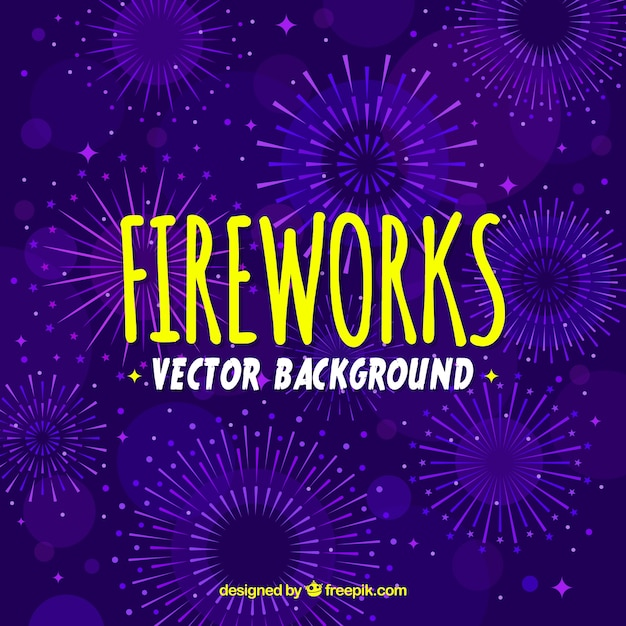 Purple firework background Free Vector