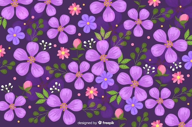 Фиолетовый цветочный фон плоский дизайн Бесплатные векторы