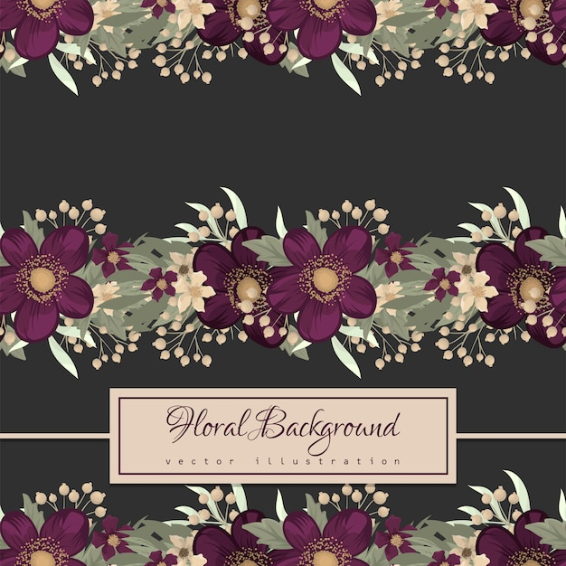 Purple floral seamless pattern Free Vector
