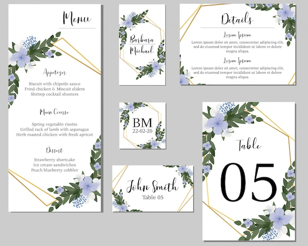 Purple floral wedding stationary with golden frame Premium Vector