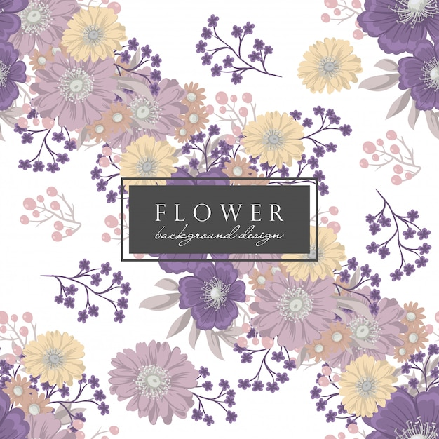 Purple flower backround pattern with flowers and leaves Free Vector