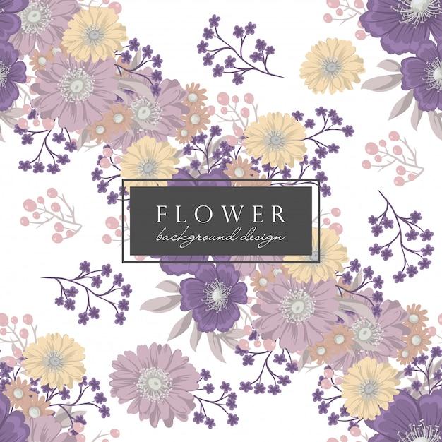 Reticolo viola del backround del fiore con i fiori e i fogli Vettore gratuito