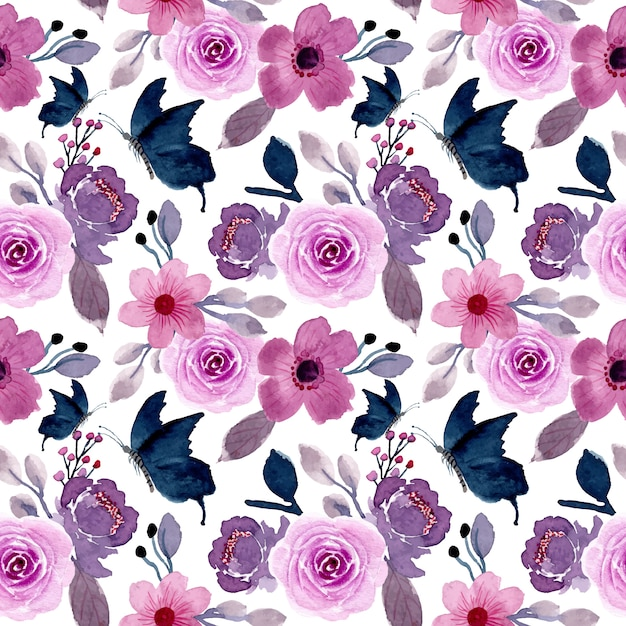 Purple flower and butterfly with watercolor seamless pattern Premium Vector