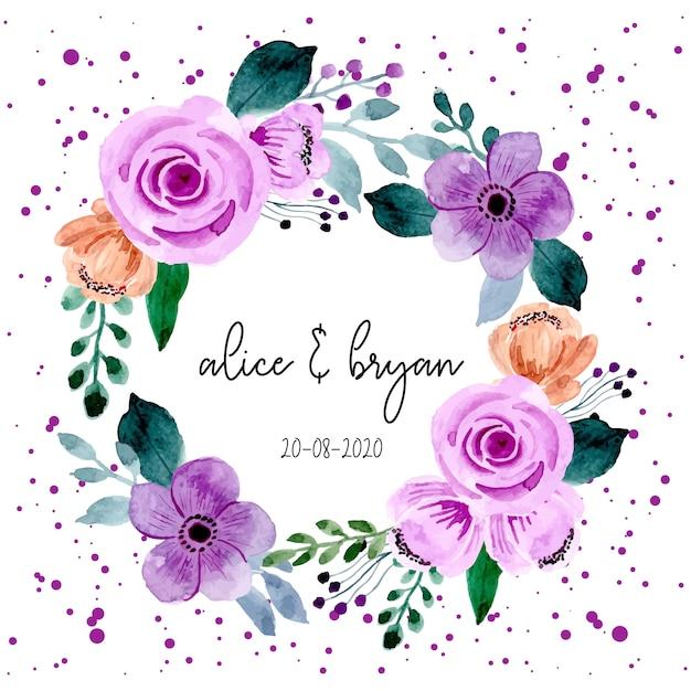 Purple flower watercolor wreath Premium Vector