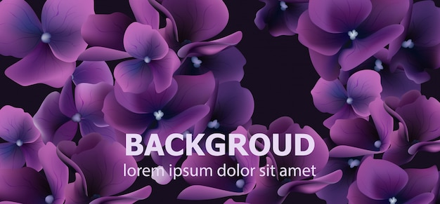 Purple flowers banner Premium Vector