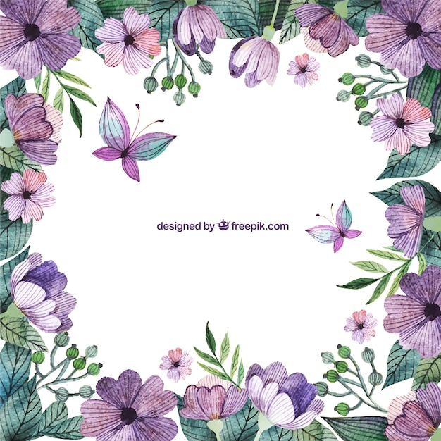 purple flowers border vector free download