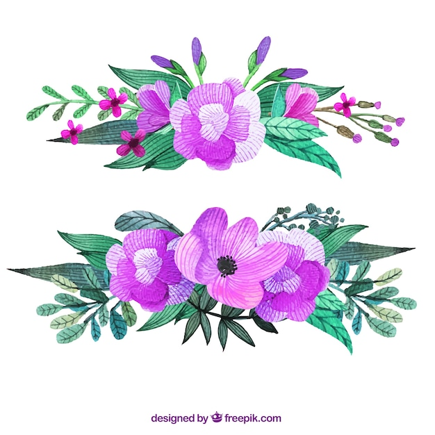Purple flowers corsage Vector | Premium Download