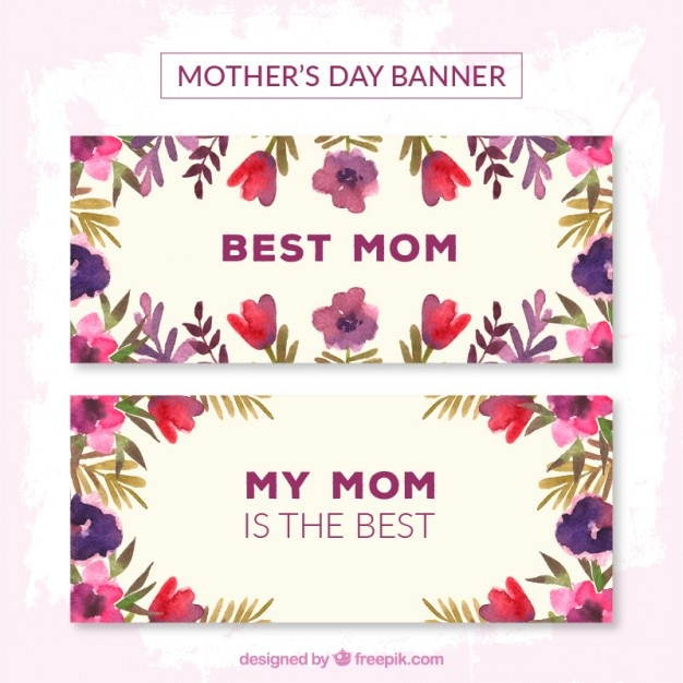 Purple flowers mother\'s day banners