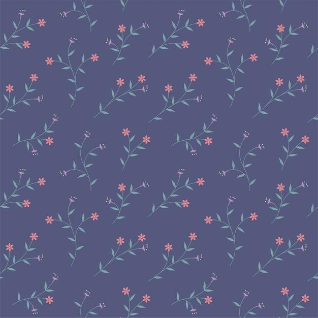 Purple flowers and orange bloom flora seamless pattern  background Premium Vector
