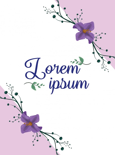 Purple flowers poster, blank space to insert text or design Free Vector