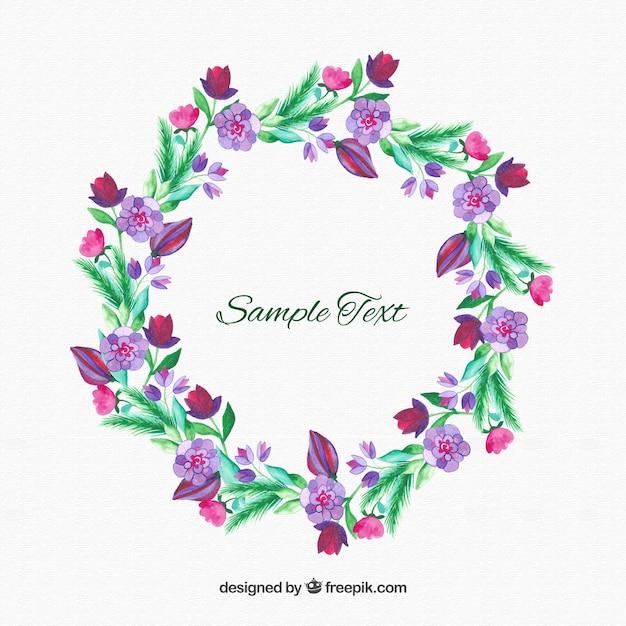 Flower Dibujo: Purple Flowers Wreath Vector