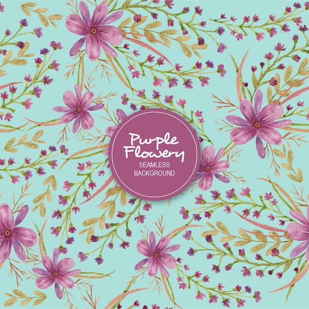 Purple flowery seamless background Premium Vector