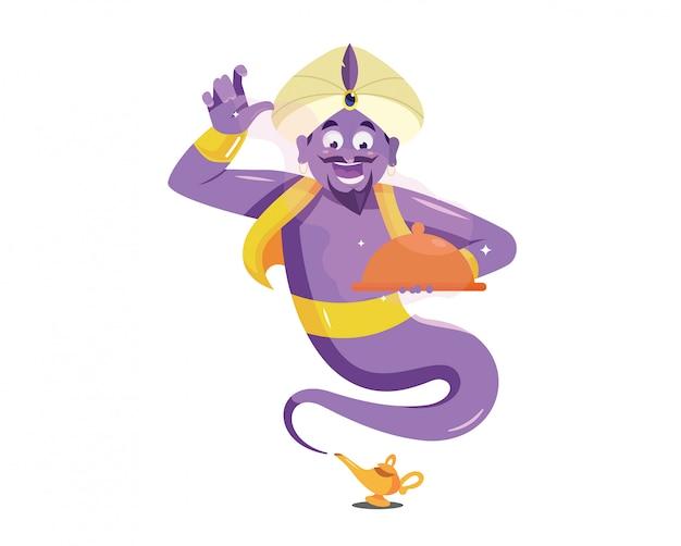 紫色の魔神は魔法の食べ物をもたらす Premiumベクター